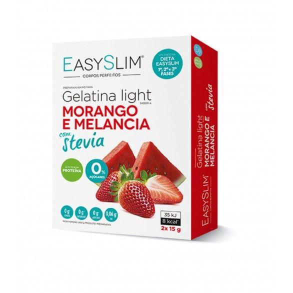 Easyslim Gelatina Light Morango Melância Stevia 2x15g