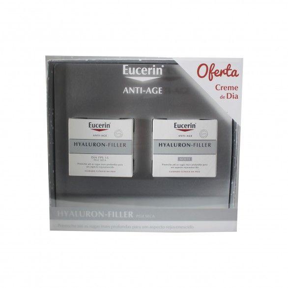 Eucerin Hyaluron-Filler Creme Noite Pele seca 50 ml + Creme Dia 50 ml