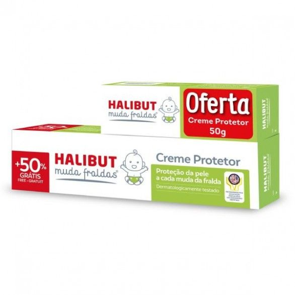 Halibut Muda Fraldas Creme Protetor 150g + Creme Protetor 50g