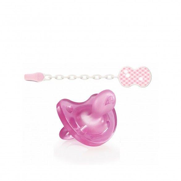 Chicco Physio Soft Chupeta + Clip c/ Corrente Rosa 0-6m